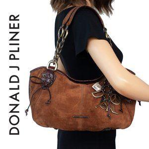 Donald J Pliner ADELA Brown Suede Satchel Bag